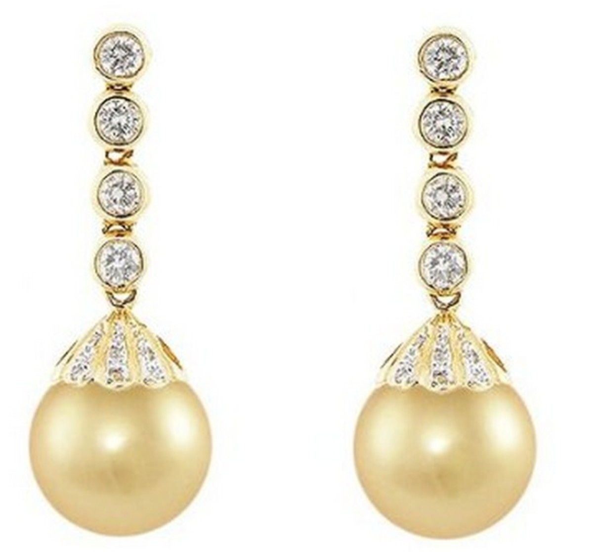 Vintage Look Golden South Sea Pearl Dangle Earrings. Golden South Sea Pearl Earrings You Will Love.