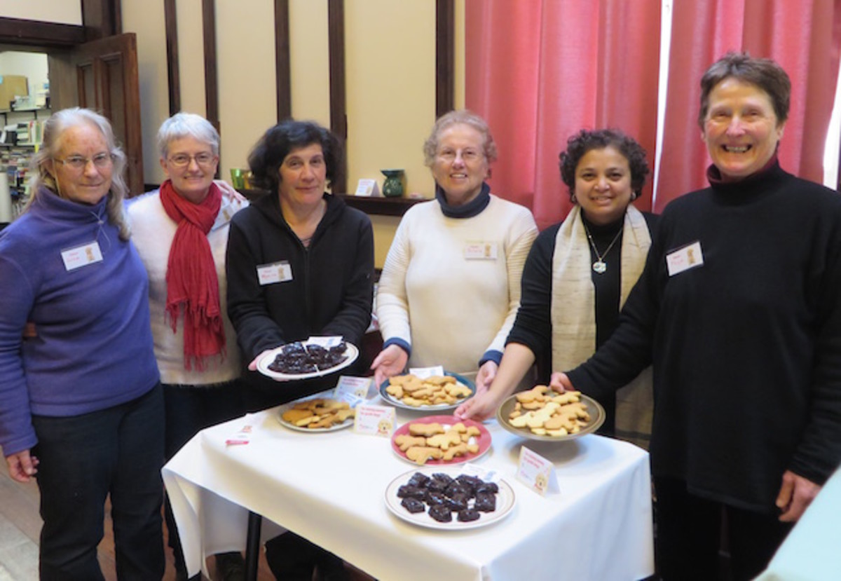 The author with other volunteers who baked a difference for Bikkie Day 2017 to raise funds for training dogs for the Blind Foundation of New Zealand organized under the auspices of the Theosophical Order of Service.