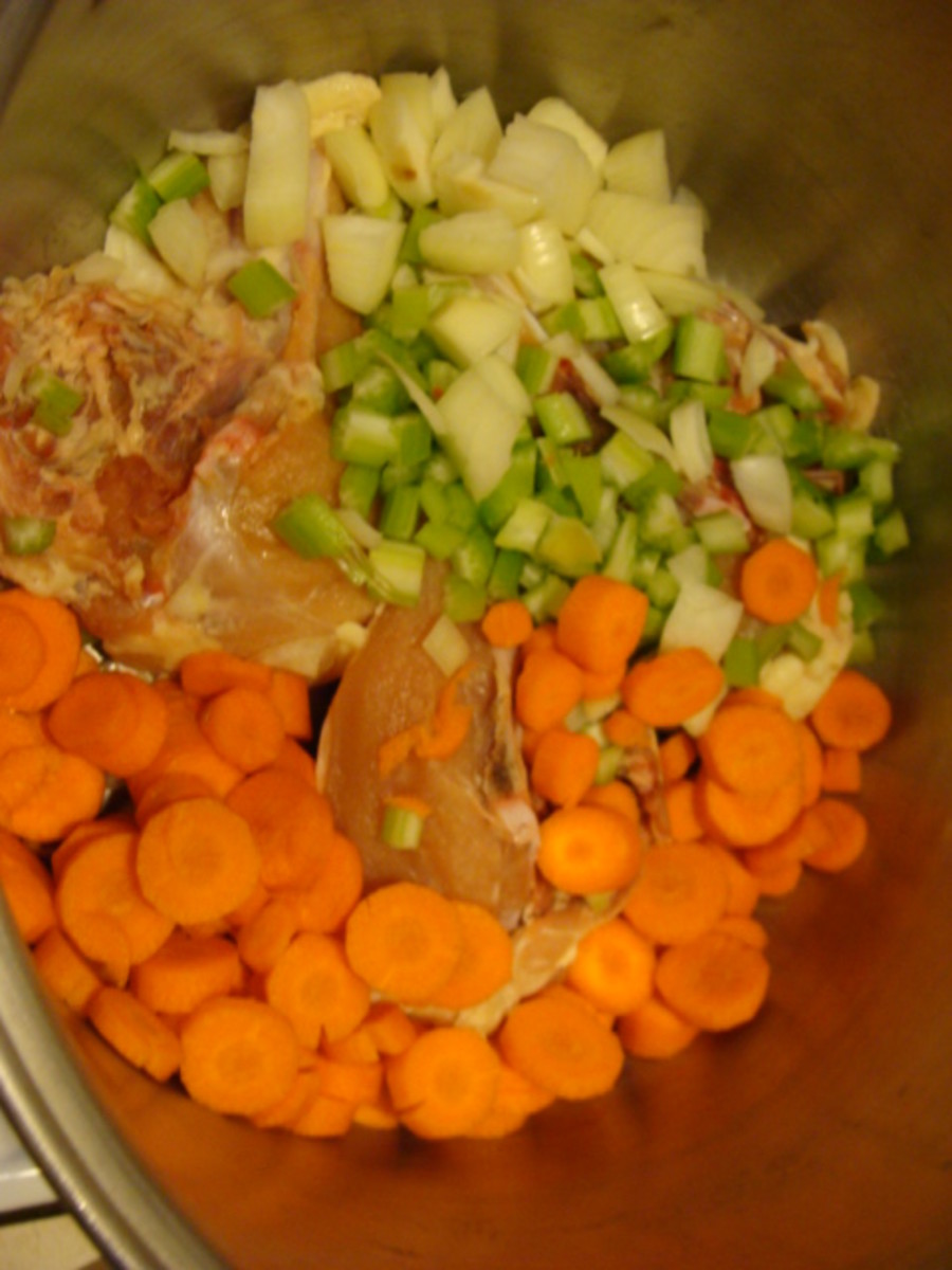 Chicken, Celery, Carrots and Onions all sliced and diced and ready to go!