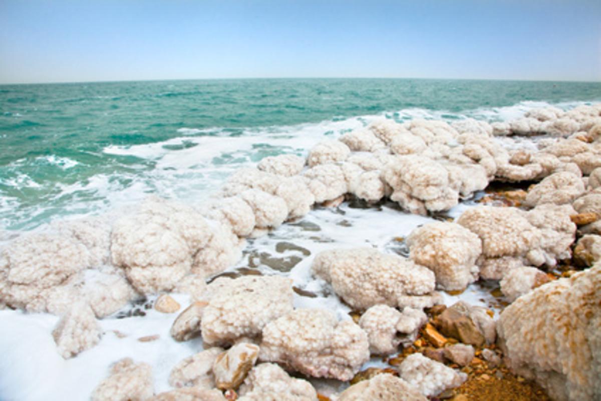 Salt build up along the shore of the Dead Sea