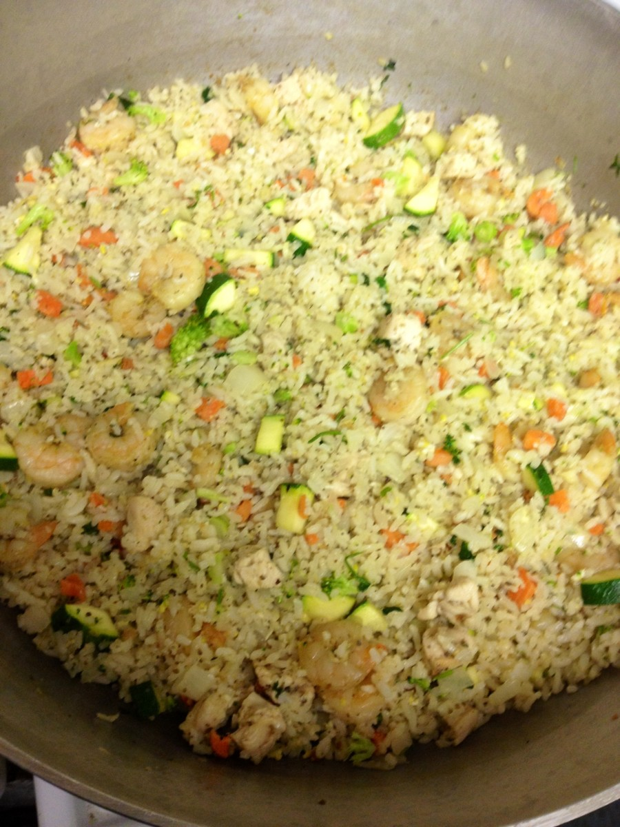In  this fried rice I added shrimp and chopped zucchini.