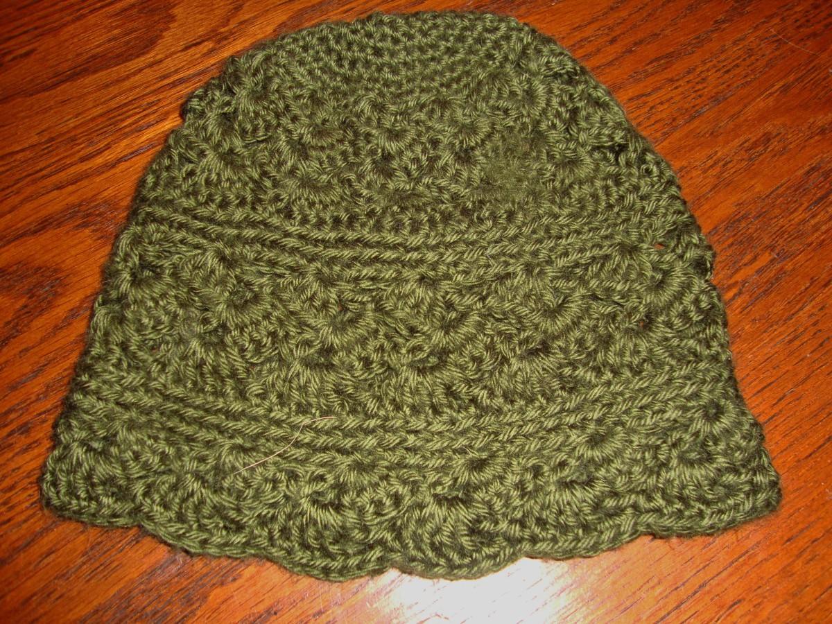 Scalloped edge and shell stitch.
