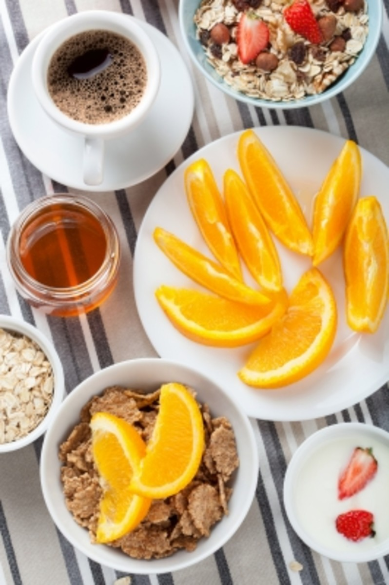all these healthy breakfast ingredients may be used for the skin. coffee, honey, orange, strawberries, oatmeal and nuts.