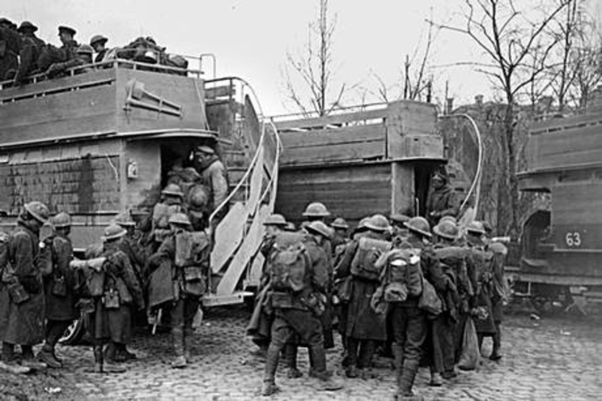 Using London buses boarded up to reach the front line.