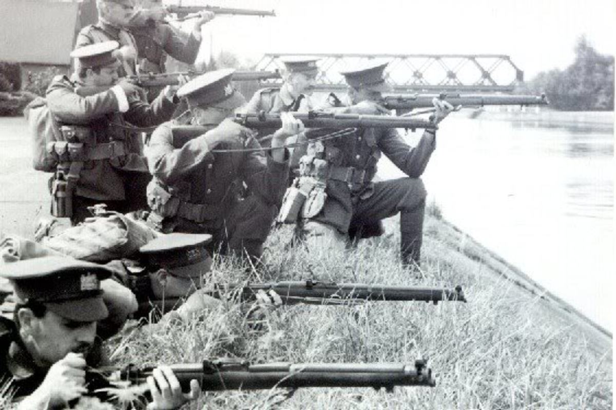 Troops at the Mons canal