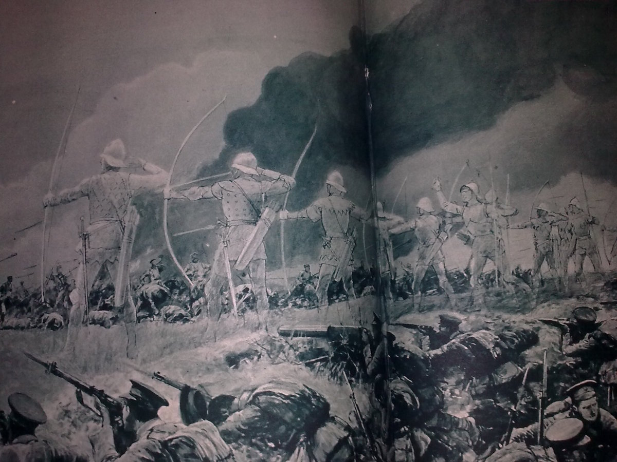 An impression of the Longbow men facing the German assault.