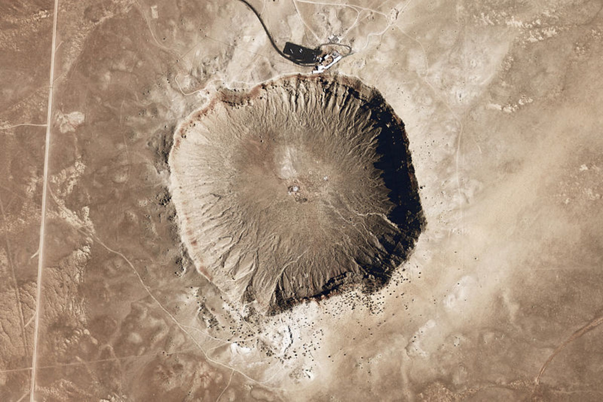 "Bird's eye view of Meteor crater in Arizona, known as ""Barringer Crater"""