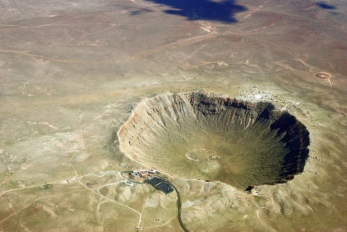 Aerial view of Meteorite crater in Arizona