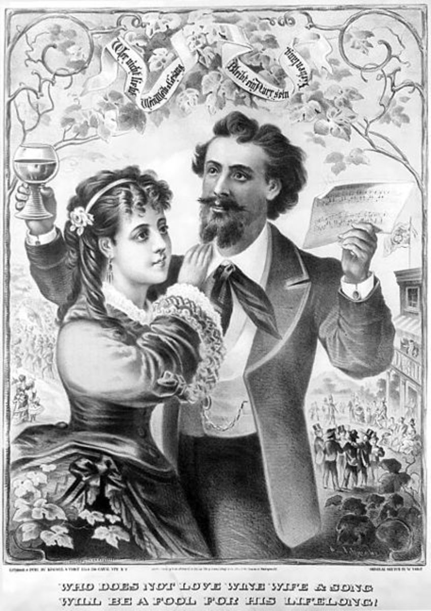 """WHO DOES NOT LOVE WINE WIFE AND SONG WILL BE A FOOL FOR HIS LIFELONG!"" - WeinWeibUGesang - A print published by Kimmel and Voigt in New York, 1873."