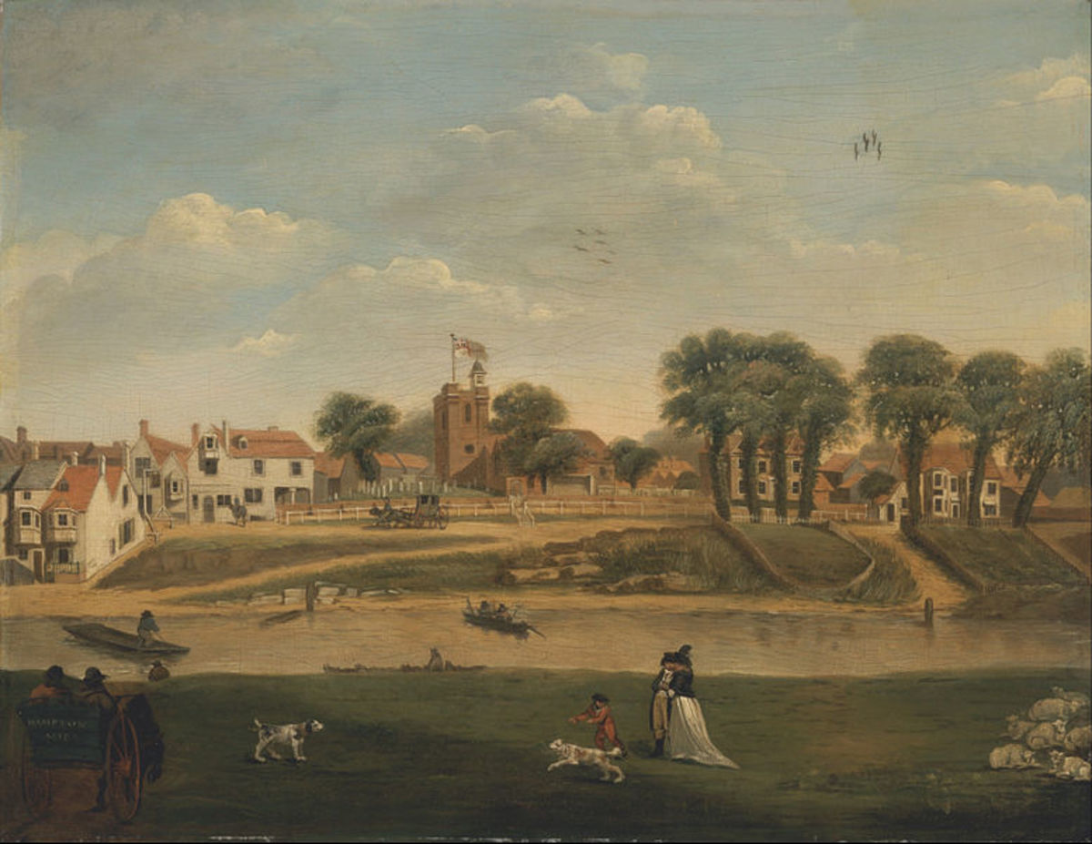 The Old Parish Church and Village, Hampton-on-Thames, Middlesex, 18th century.  I love how the lovers in this piece are just a small part of the greater picture and happenings.