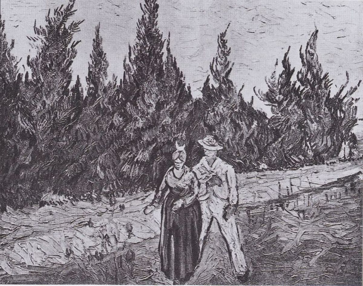 Van Gogh - Zypressenweg mit Liebespaar - Der Garten des Dichters IV. Arles, October 1888 - Oil on Canvas