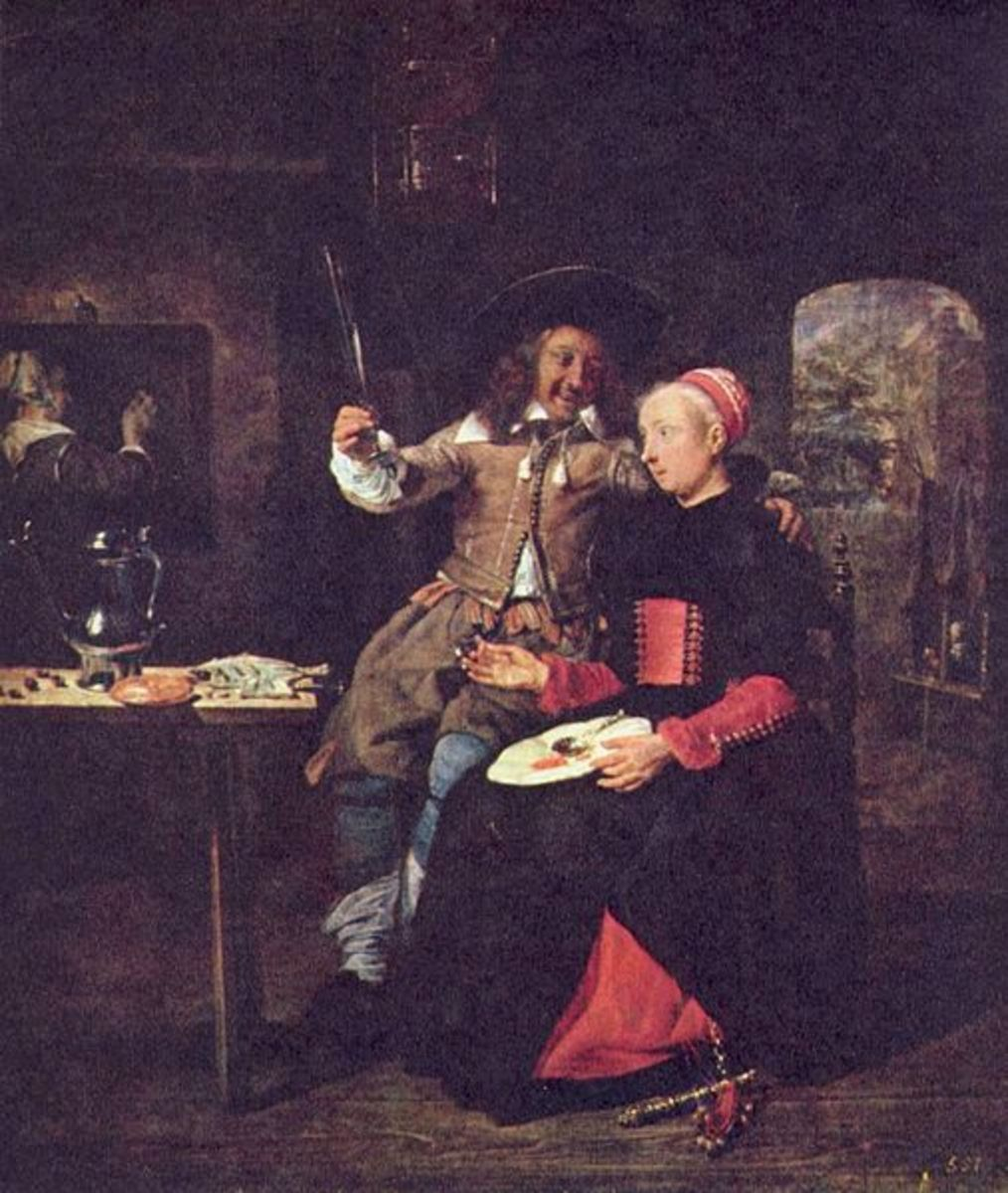 Gabriel Metsu - the painter G. Metsu himself with his wife. Gabriel Metsu - Portrait de l'artiste avec son épouse.