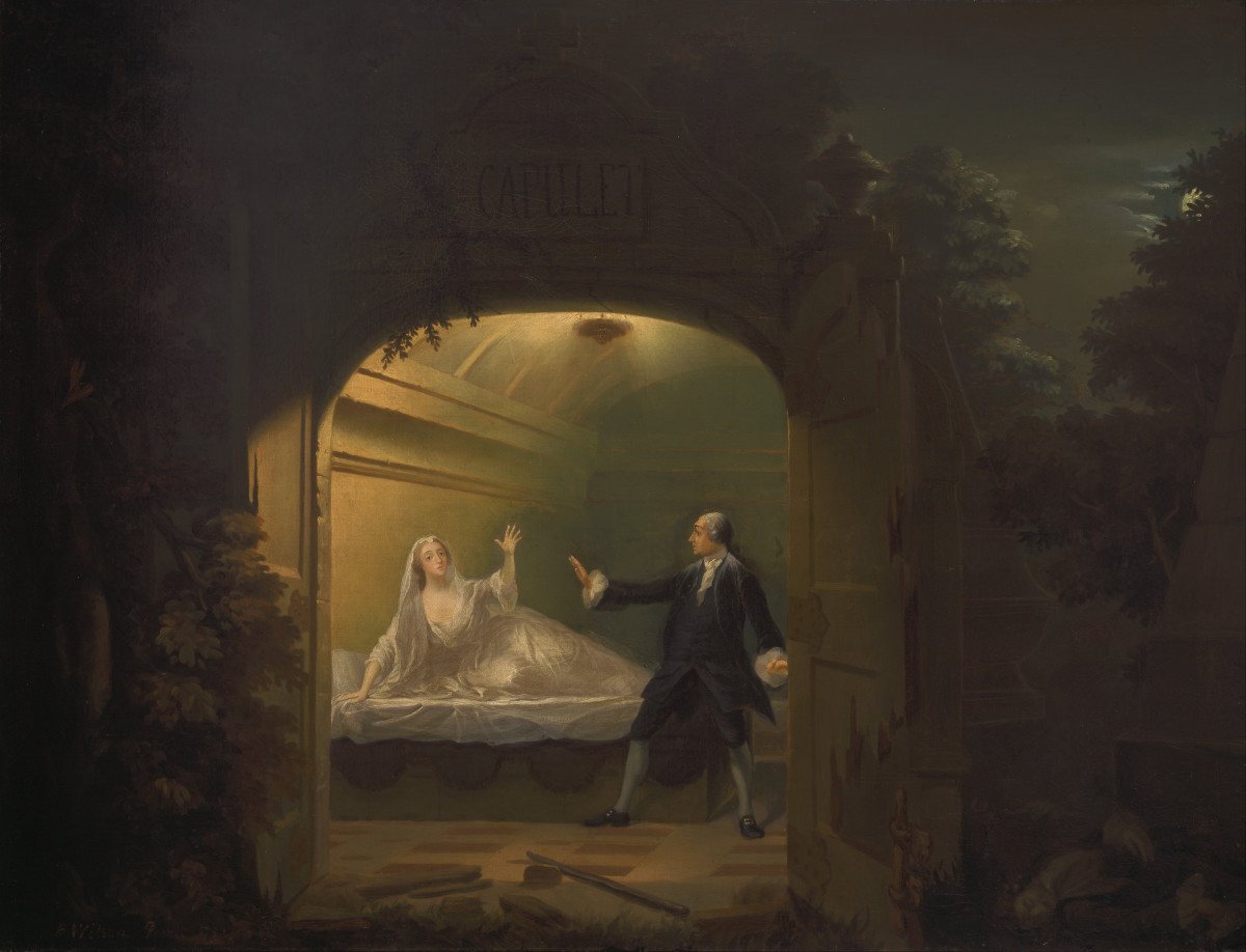 "David Garrick and George Anne Bellamy in ""Romeo and Juliet"", Act V, Scene iii"