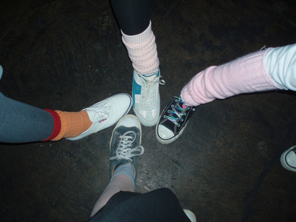 Lots of 80's style socks -- look at the Orange and Red scrunch socks. Swap colors on the opposite foot (to red and orange) to complete the 80's look. CC BY-ND 2.0, via Flickr.