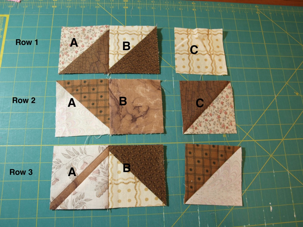 Start assembling the block by sewing the first squares together.
