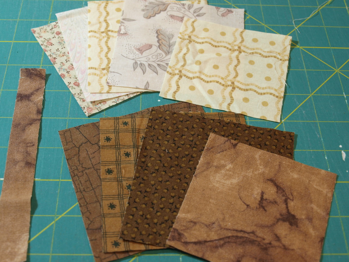 Squares of fabric for leaf block