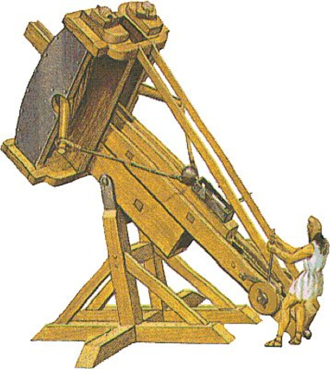 Depiction of the original 'bent bow' catapult