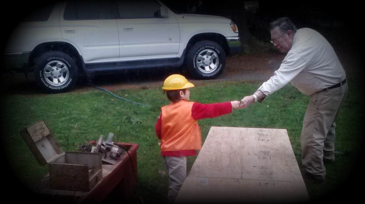Teaching young ones about love and respect is the answer.  This 5 yr. old is helping his Great-grandfather build a handicap ramp and enjoying doing so!