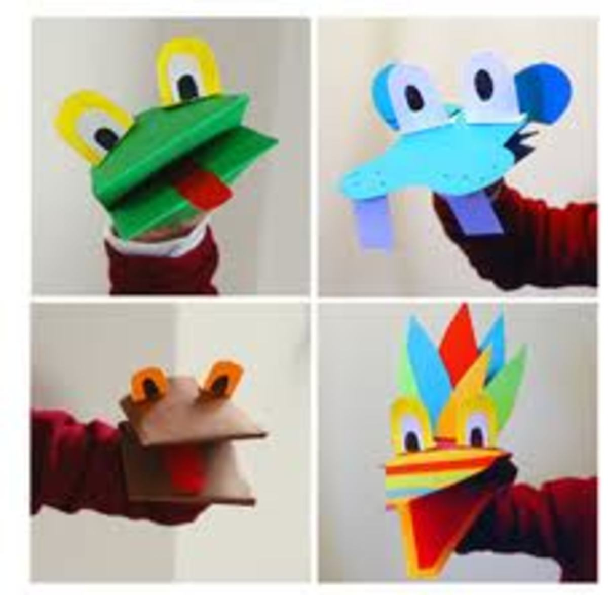 You can make your own puppets with socks or brown paper bags.