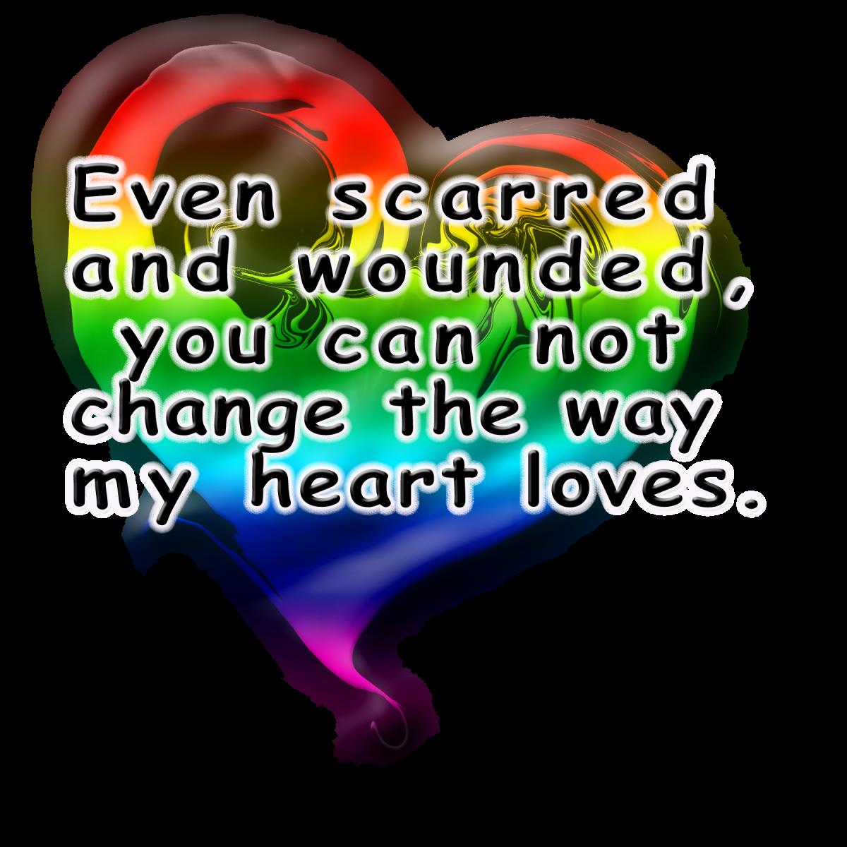 Scarred Rainbow Heart copyright 2013 K9keystrokes