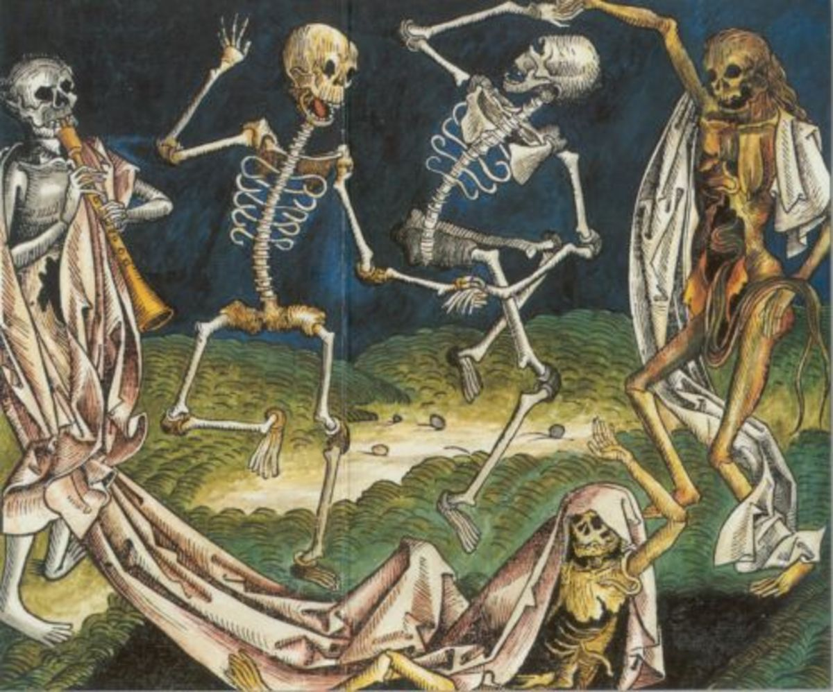 After the Black Death claimed millions in Europe these Danse Macabres became very popular in art of the time.