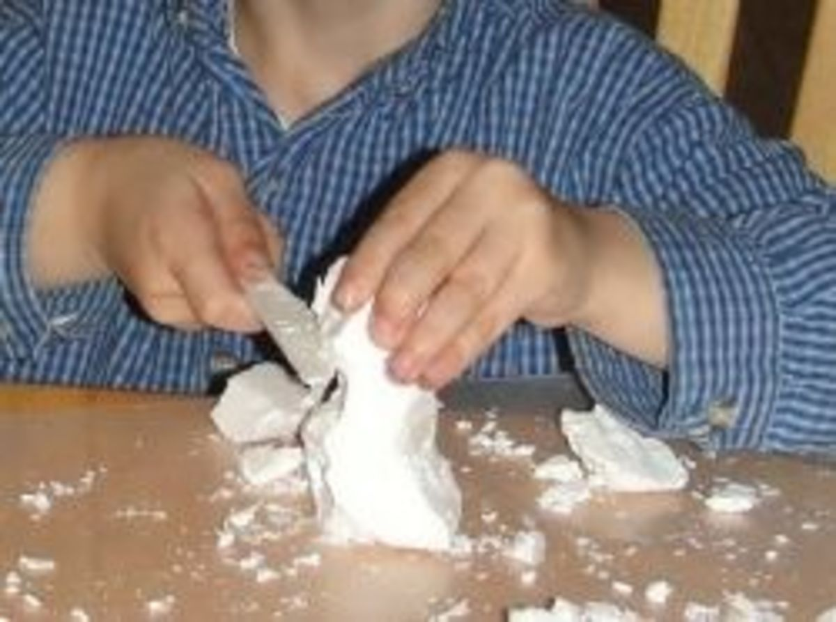 Carving a soap sculpture of Henry Moore's owl sculpture