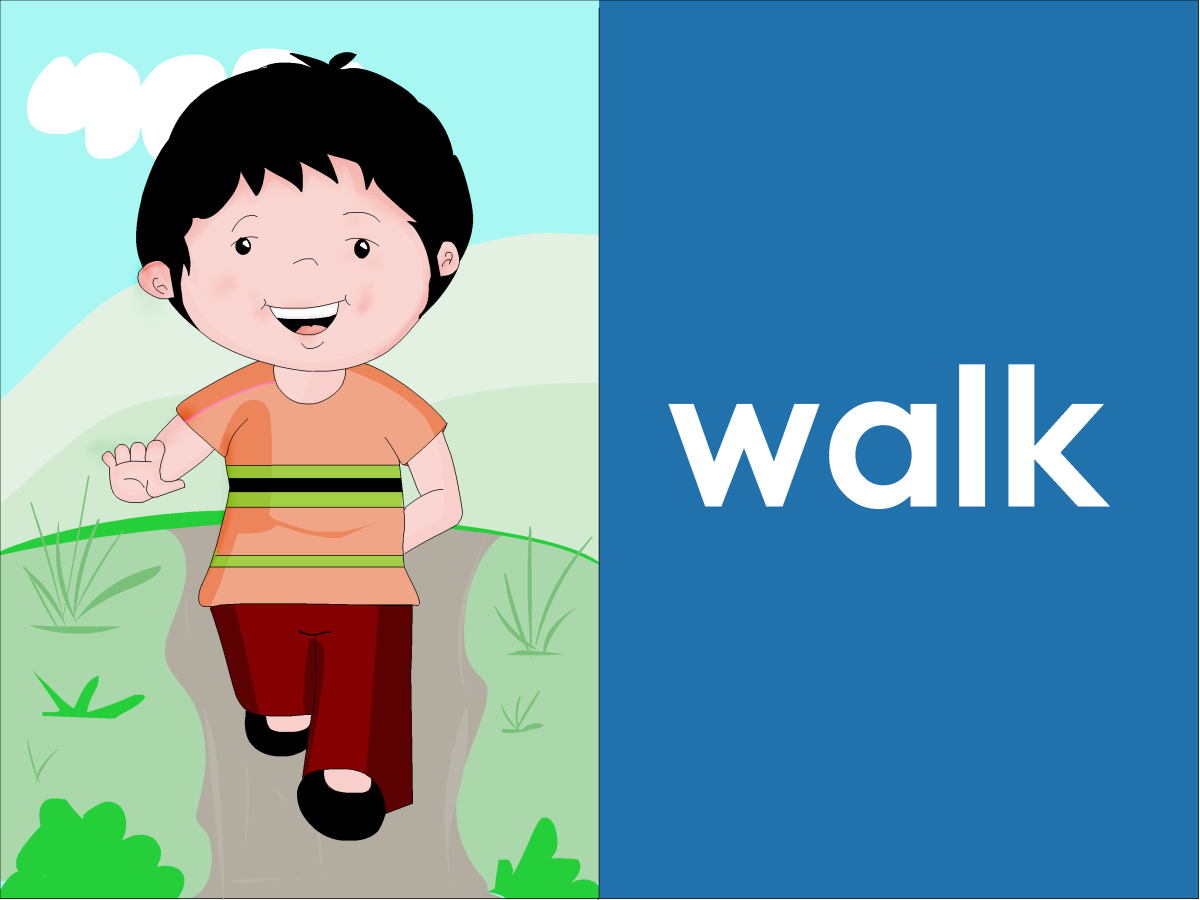 Action words for kids - walk
