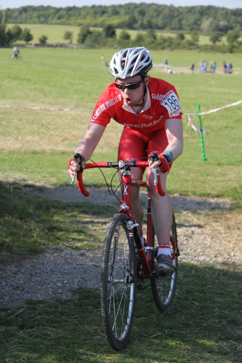 Liam Hallam in cyclocross action in a pair of Northwave Vertigo shoes which have now been replaced with a racier looking Sparta