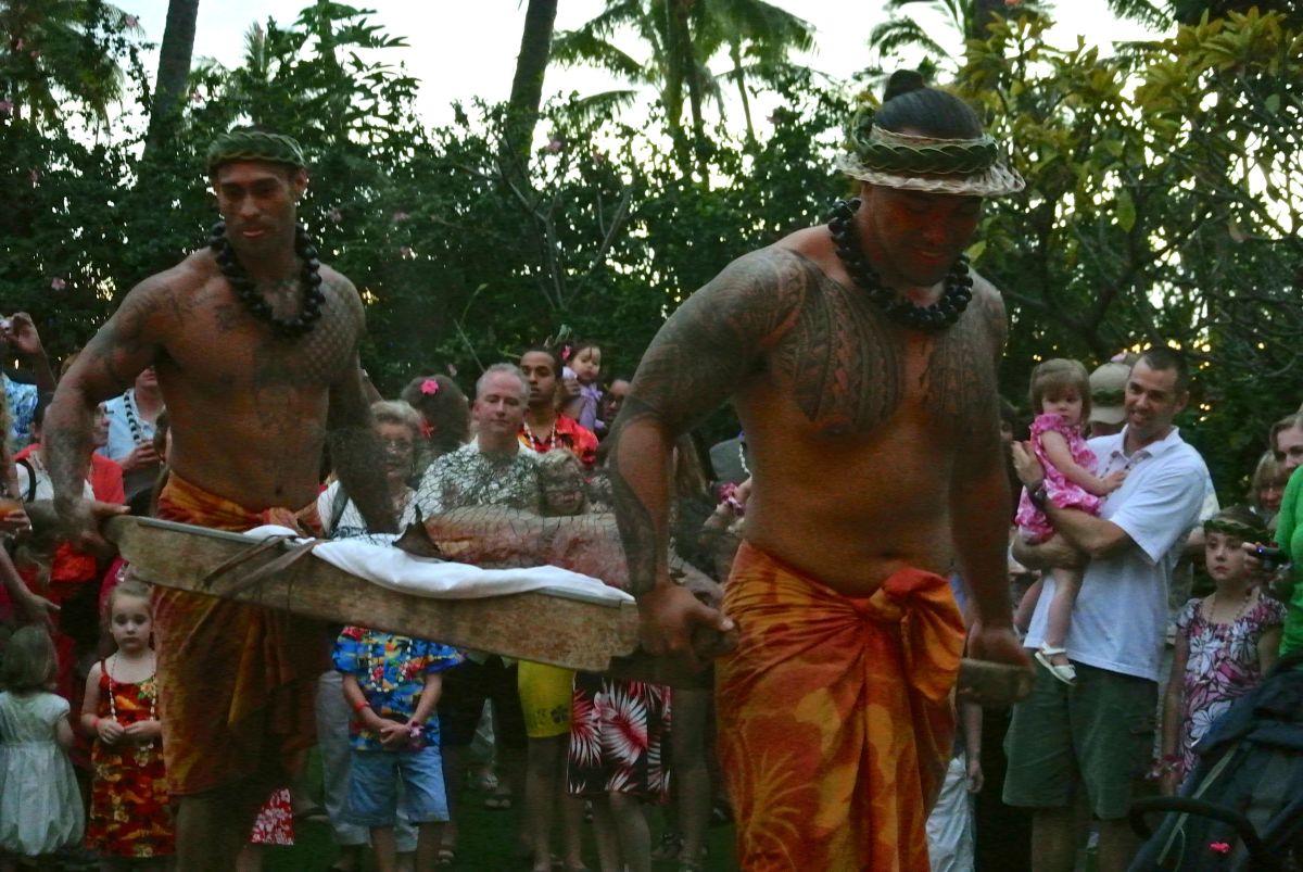 Imu ceremony: Hale Koa Luau, Oahu, Hawaii