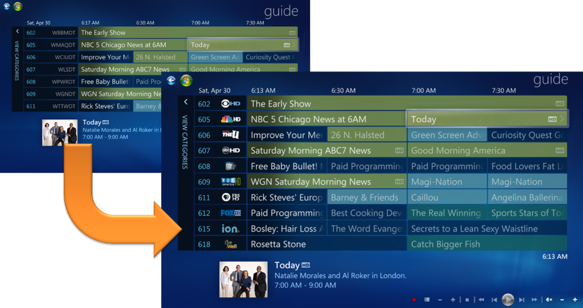 Media Center's TV guide with My Logos