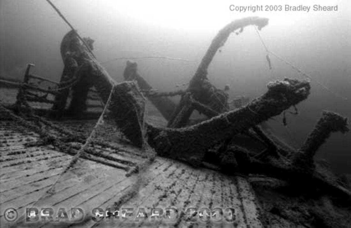 Underwater shot of the wreck SS Wilhelm Gustloff
