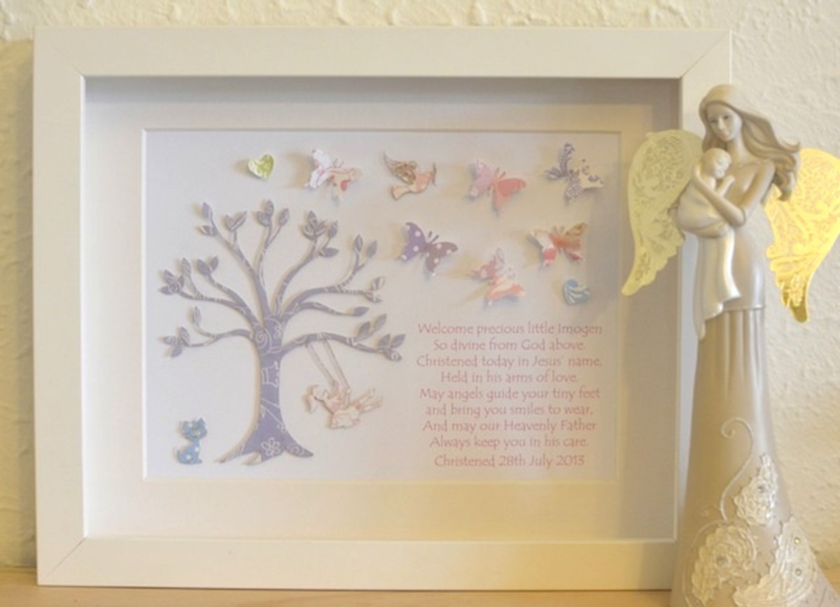 beautiful with soft colors of artwork - ideal for a children's room -  hand cut paper art with tree and swing