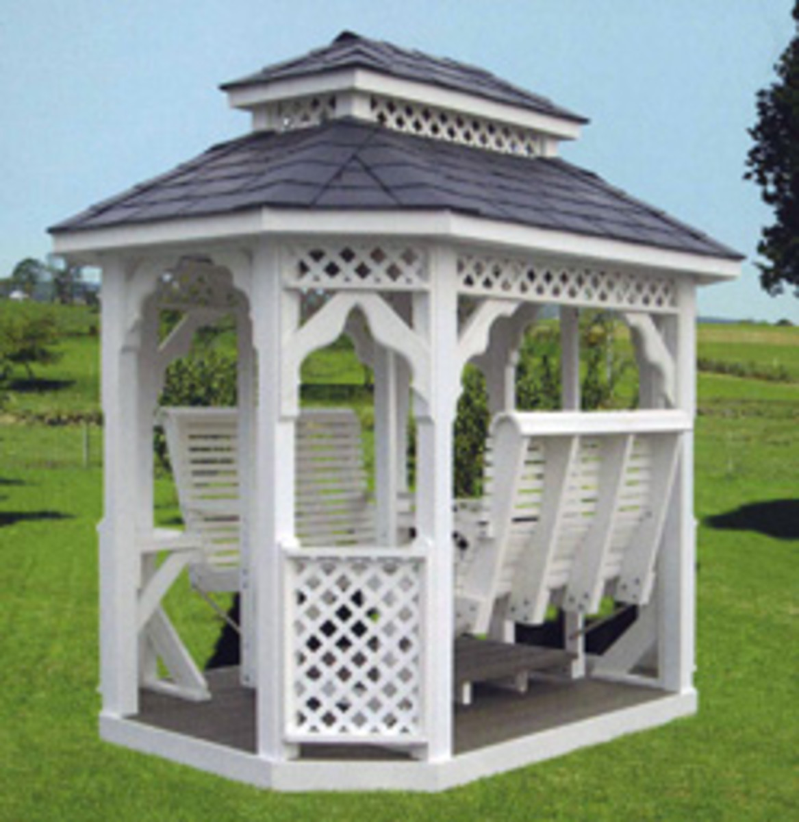 White Double Swing with Covered Tiered Roof with white lattice