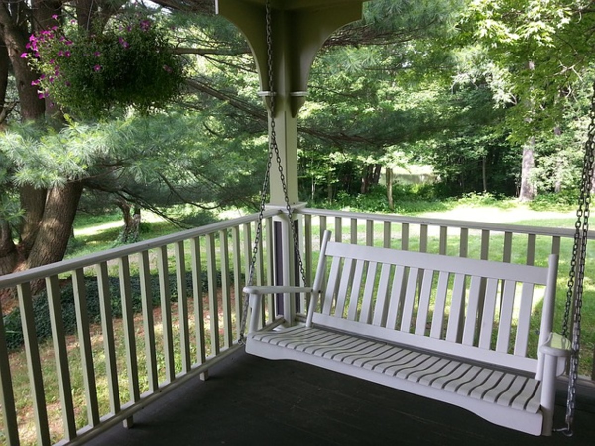 Beautiful and Iconic Porch Swing with green trees in the background