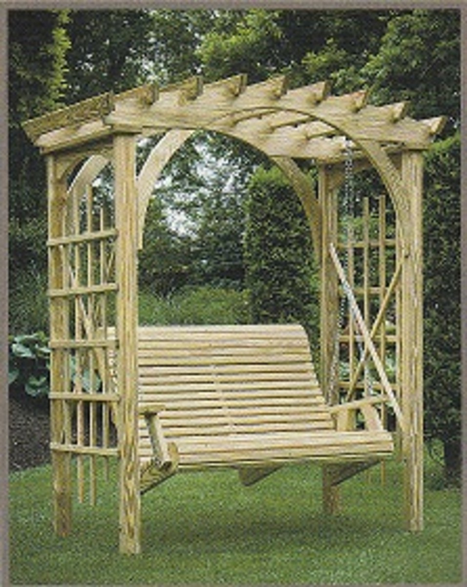 standalone swing with arbor in natural wood tone