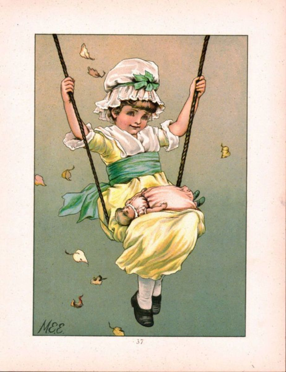 Adorable little girl hand drawn with baby doll in her lap joyfully playing on a swing in bright yellow frock and bonnet with green sashes and bows