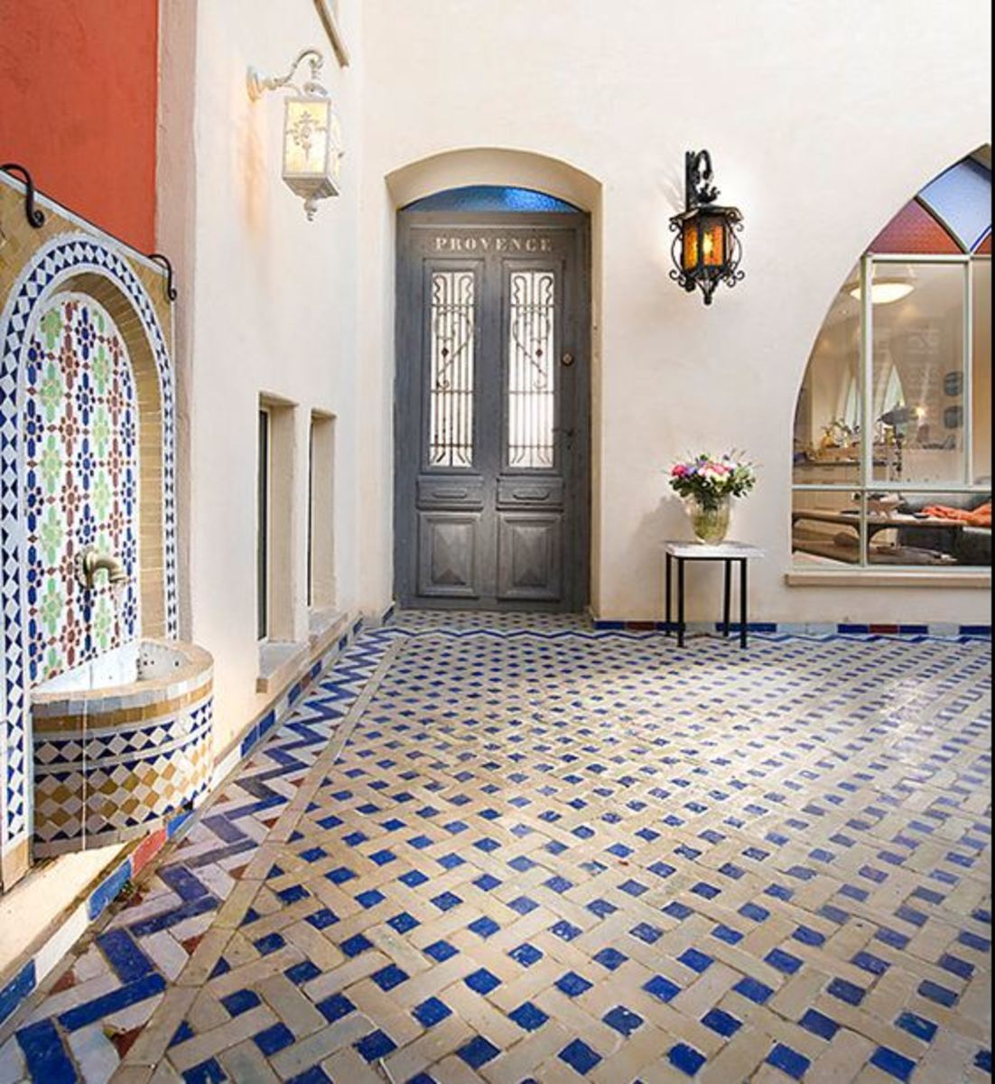 Mediterranean tile flooring in blue - beautiful design edged and customized design