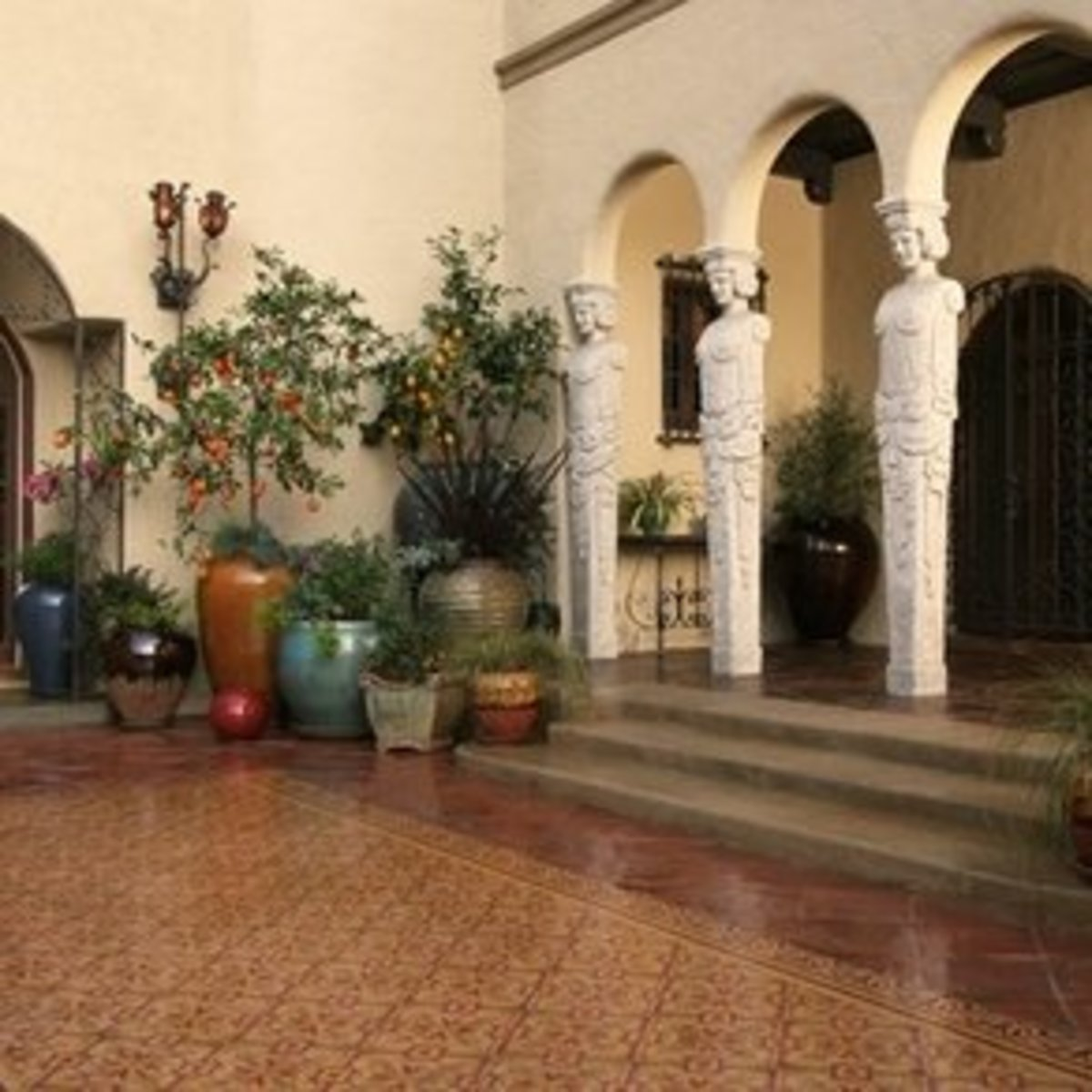 beautiful outdoor Mediterranean tile and stairs in brown and earth tones