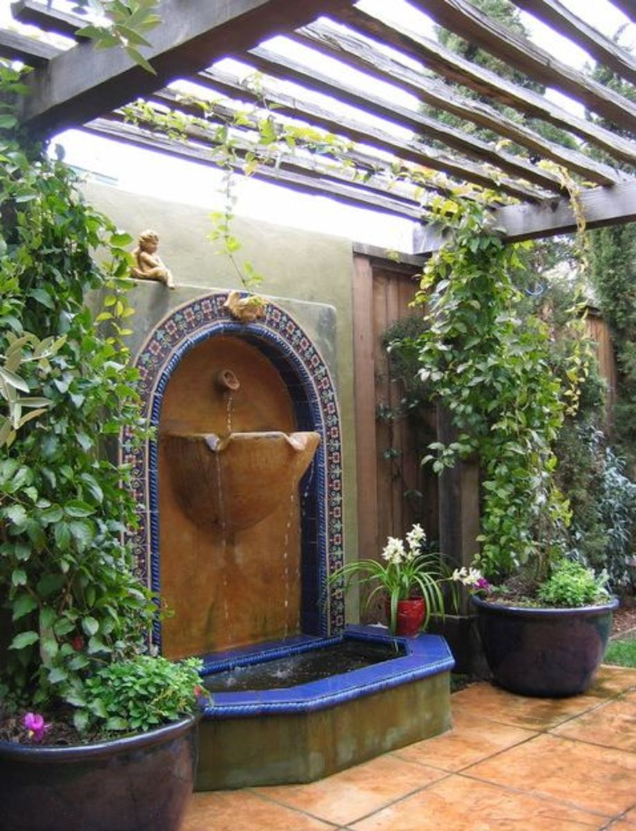Mediterranean patio with water fountain - exquisite artisan style