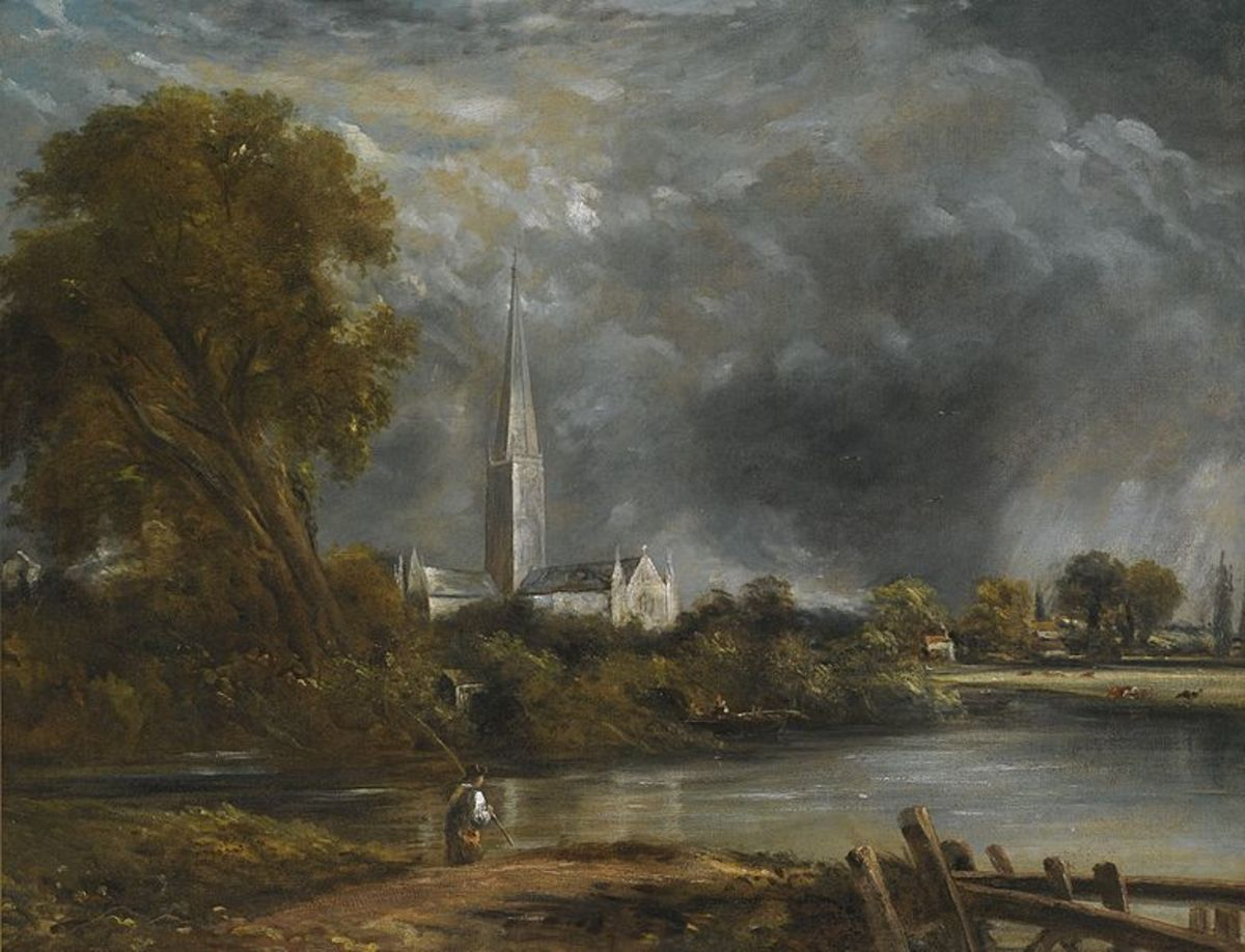 Salisbury Cathedral from the meadows - by John Constable