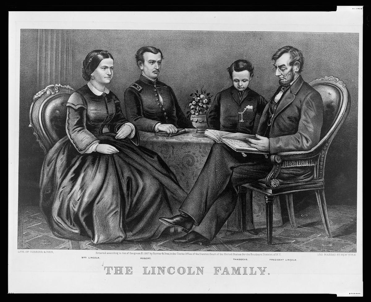 The Lincoln family. From left to right: Mary Todd Lincoln, Robert Lincoln, Tad Lincoln, Abraham Lincoln