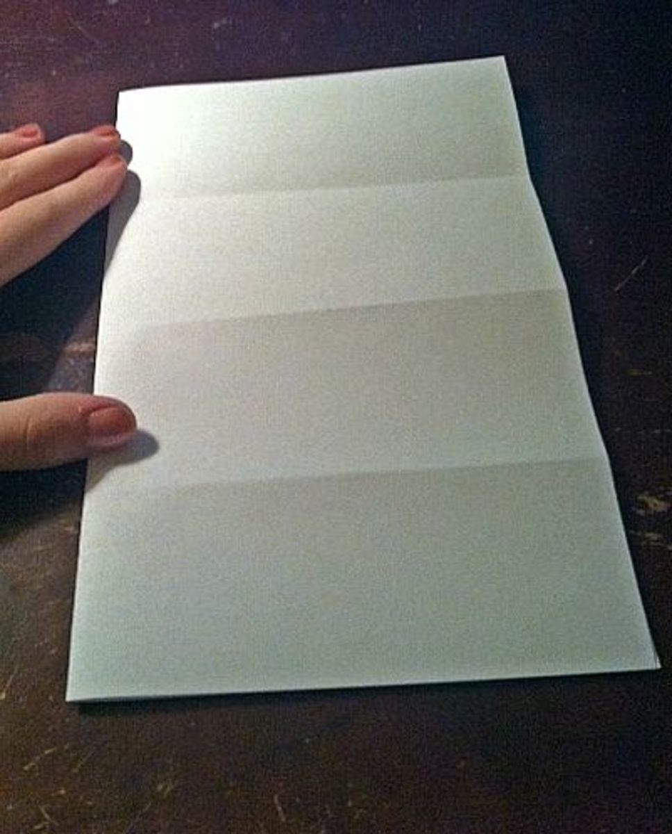 Fold the paper in half the other way.
