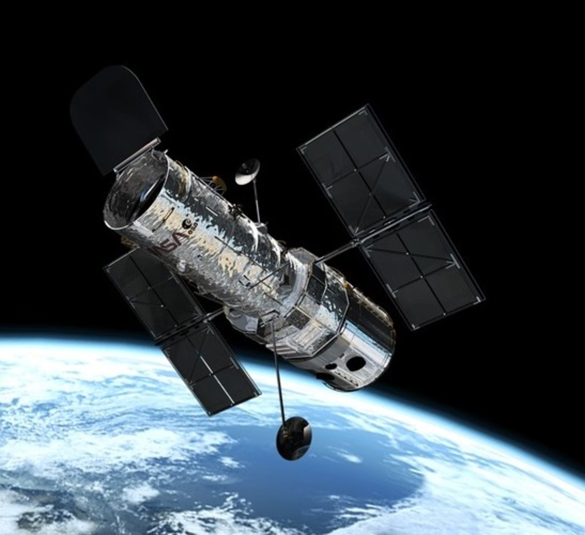 Hubble Telescope in orbit around Earth.