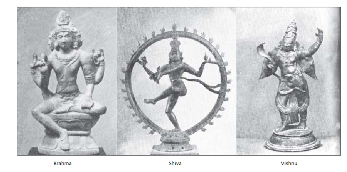 Trimurti (Brahma, the creator god; Vishnu, preserver god; Shiva, god of destruction),