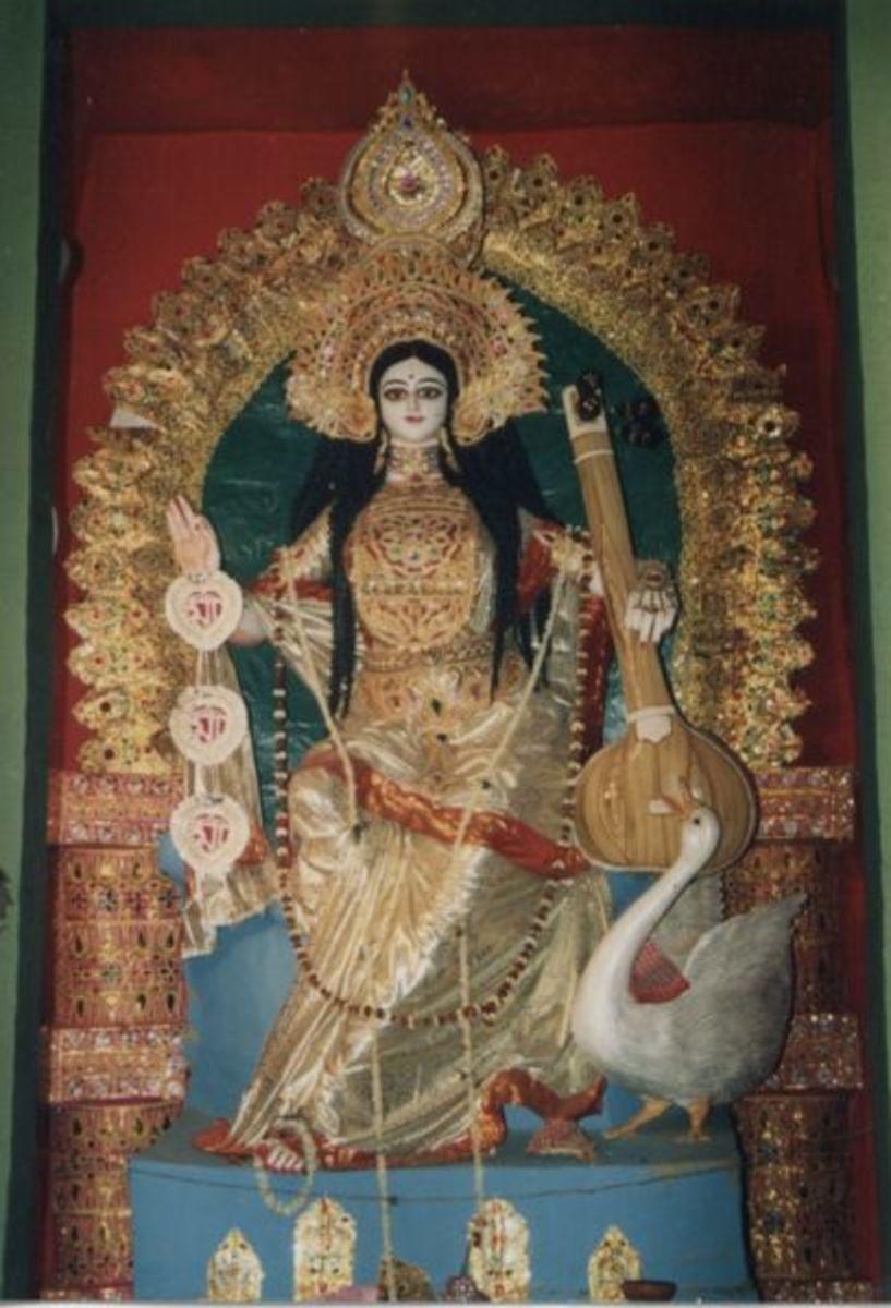 Saraswati, the consort of Brahma, symbolizing the goddess of wisdom and knowledge