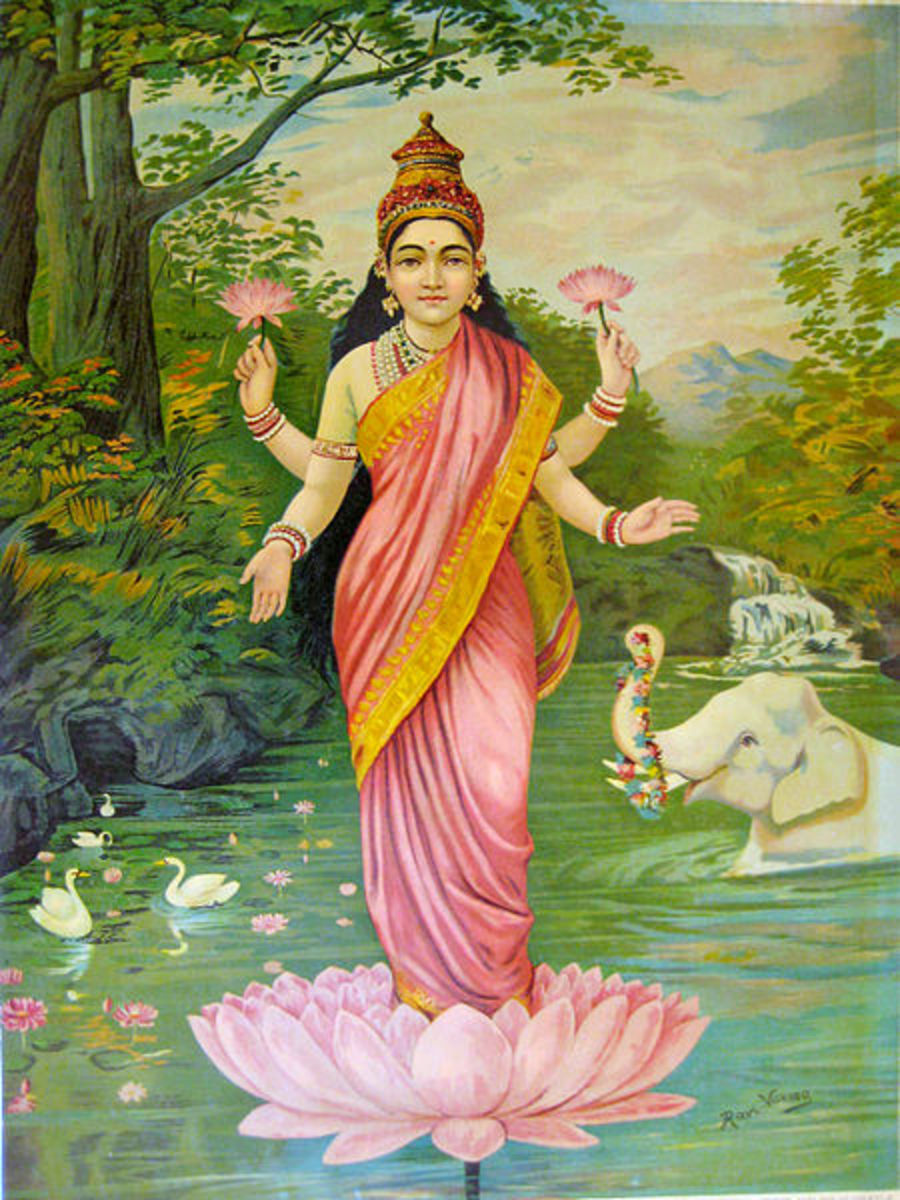 Lakshmi, the consort of Vishnu, symbolizing the goddess of beauty and happiness