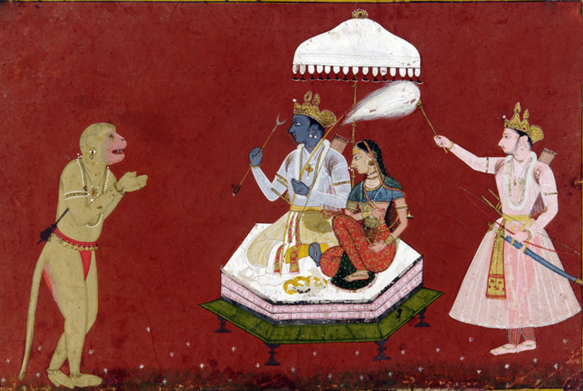 scene in Ramayana: Rama seated with Sita, fanned by Lakshmana, while Hanuman pays his respects.