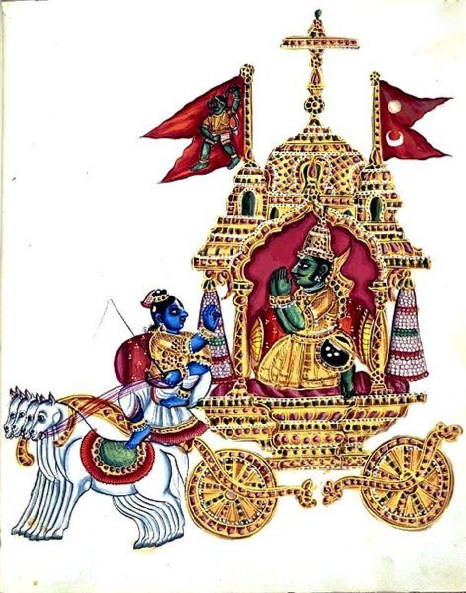 Krishna and Arjuna. It show how Krishna always support Arjuna, like what written in Bhagavad Gita.