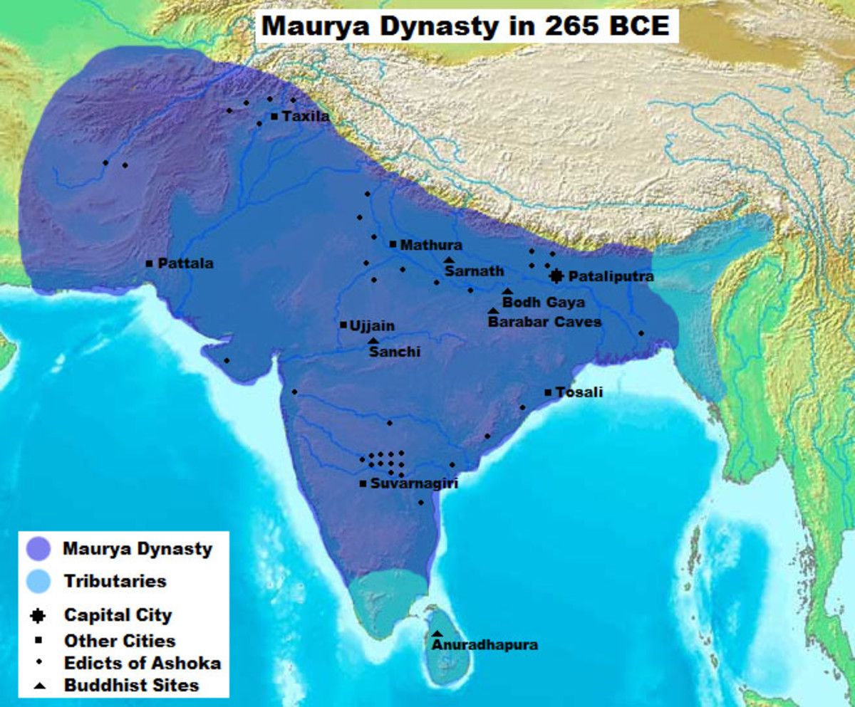 A map of the Maurya Dynasty, showing major ciies, early Buddhist sites, Ashokan Edicts, etc.