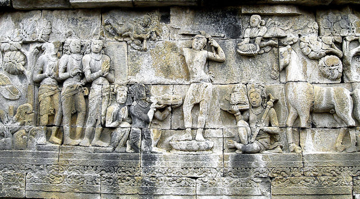 Prince Siddharta Gautama shaves the hair off his head as the sign to decline his status as ksatriya (warrior class) and become sn ascetic hermit, his servants holds his sword, crown, and princely jewelry while his horse Kanthaka stood on right.